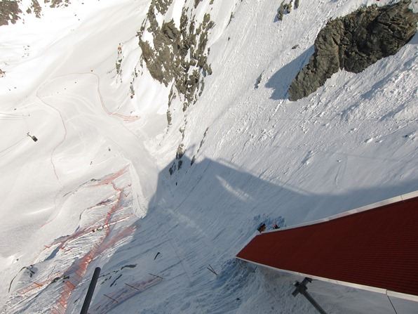 Ramp at the top of the speed skiing piste on the Glacier de Tortin, Mont-Fort