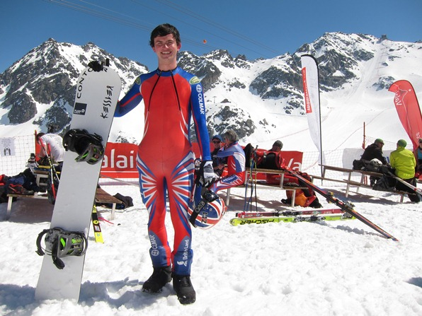Jamie Barrow in Verbier to establish a British snowboarding speed record, April 2013