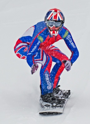 Jamie Barrow set the first British snowboarding speed record in Verbier, April 2013