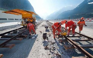 Approach line for AlpTransit Gotthard Base Tunnel under construction