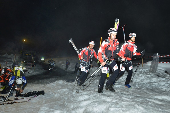 Competitors in the Patrouille des Glaciers ski mountaineering race to Verbier setting off from Zermatt, Switzerland, May 2014
