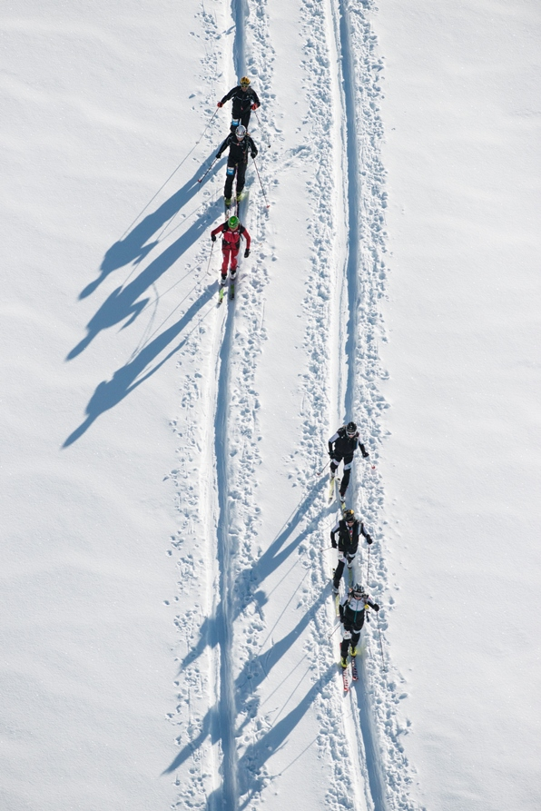 Competitors in the Patrouille des Glaciers ski mountaineering race between Zermatt and Verbier, Switzerland, May 2014